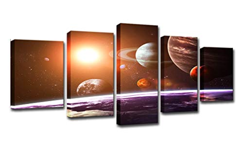 Yybao - HD Print Painting 5 pieces Canvas - Universe Space Five Planets...