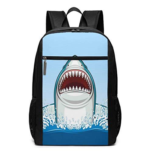 AOOEDM White Shark - Mochila básica para computadora portátil de 17 Pulgadas, Mochila para computadora para Mujeres y Hombres