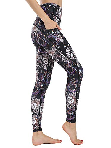 Flyily High Waist Tummy Control Leggings bedrukte yogabroek voor vrouwen met zakken, hardlopen, short, fitness leggings voor vrouwen, slim fit, sportbroek