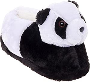 Silver Lilly Panda Bear Slippers - Plush Animal Slippers w/Comfort Foam Support