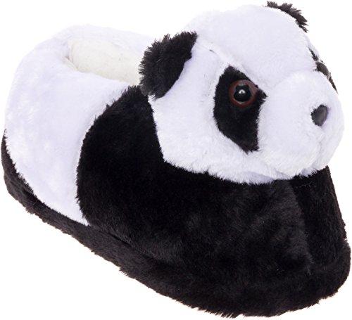 Silver Lilly Panda Bear Slippers - Plush Animal Slippers w/Comfort Foam Support (Black & White, L)