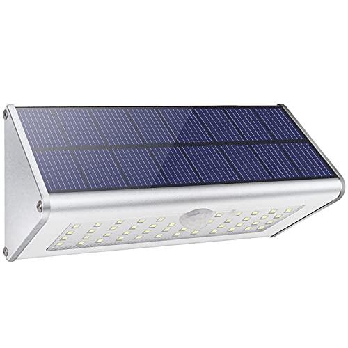【2021 Nueva Tecnología】Licwshi Luces de Pared Solar de Seguridad al Aire Libre, 1100lm 46 LED 4500mAh Aleación de Aluminio de Plata Sensor de Movimiento Infrarrojo para Jardín, Calle, Valla
