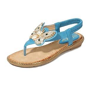 YWLINK Bohemia Mujer Bowknot Cristal Perla Sandalias Planas Chanclas De Playa Zapatos Flip Zapatos Romanos Moda Viajes Al Aire Libre Fiesta Zapatillas Antideslizante CóModo(Azul,42EU)