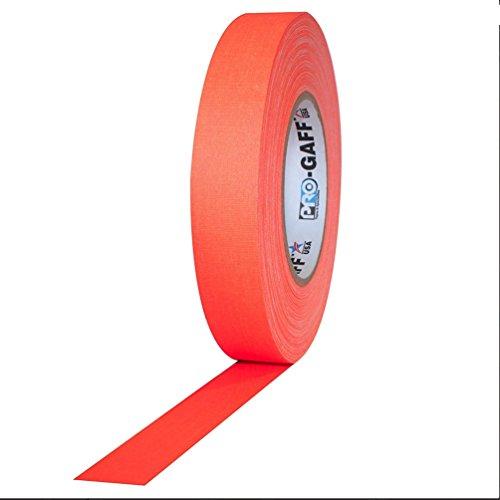 "Pro Tapes PRO-GAFF-NEON/FLOR150 Pro-Gaff-Neon Premium Fluorescent Gaffers Tape: 1"" x 50 yd, Fluorescent Orange"