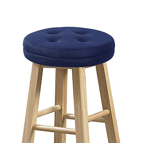 baibu Stool Covers Round, Super Breathable Round Bar Stool Cover Seat Cushion Navy Blue 12' - Cushion Only