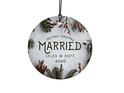 Our First Christmas Ornament – Married Personalized – Cranberries and Evergreen – Suncatcher Hanging Print Christmas Tree Date Display 3.5' Circle | Complimentary Red Velveteen Gift Bag