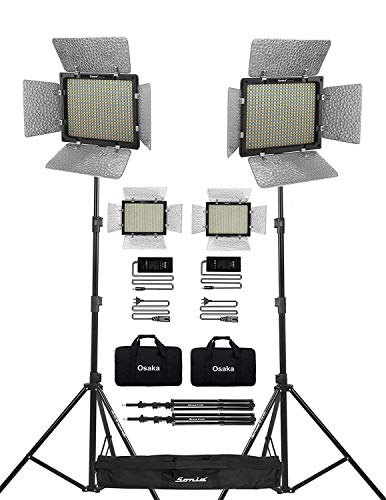 Osaka Bi-Color Dimmable LED Video Light OS 528 Slim for All DSLR Cameras Video Cameras YouTube Video Shooting 2 Pc Combo kit: 2 AC/DC Adapter; 2 Light Stand 9 Feet; 2 LED Bag; 1 Stand Bag
