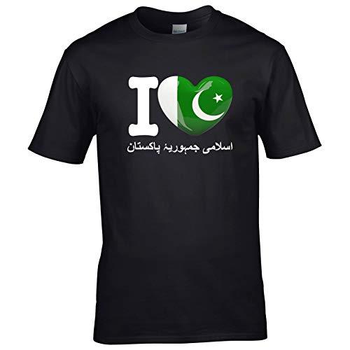 FanShirts4u Kinder T-Shirt - I Love Pakistan - WM Trikot Liebe Herz Heart (9/11 Jahre 134-146 cm, I Love Pakistan/Urdu - Schwarz)