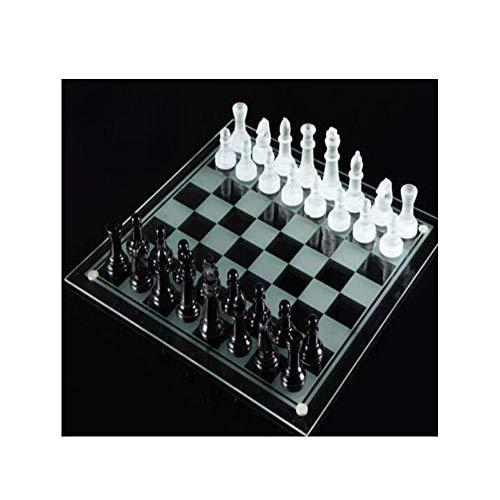 CHUTD Ajedrez Internacional, Exquisito Juego de ajedrez de Alta especificación de Cristal de Vidrio, ajedrez en Blanco y Negro de Vidrio para Interiores (Estilo 1) (Color: Claro, Estilo: Estilo 2)