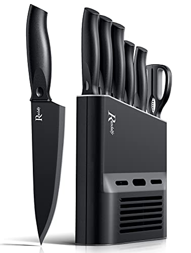 Randalfy Kitchen Knife Set with Block, 7 Pieces Chef Knife Set with Knives, Scissor, Block for Meat/Vegetables/Fruits Chopping, Slicing, Dicing&Cutting