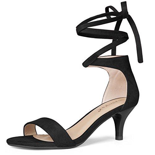 Allegra K Damen Peep Toe Kätzchen Absatz Lace Up High Heels Sandale Schwarz 37 EU