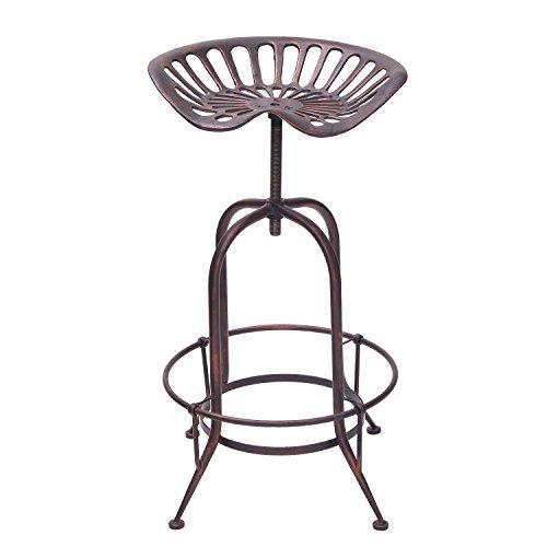 Decent Home Industrial Metal Corkscrew Rivet Adjustable Trackor Seat Design Bar Stool (Antique Bronze)