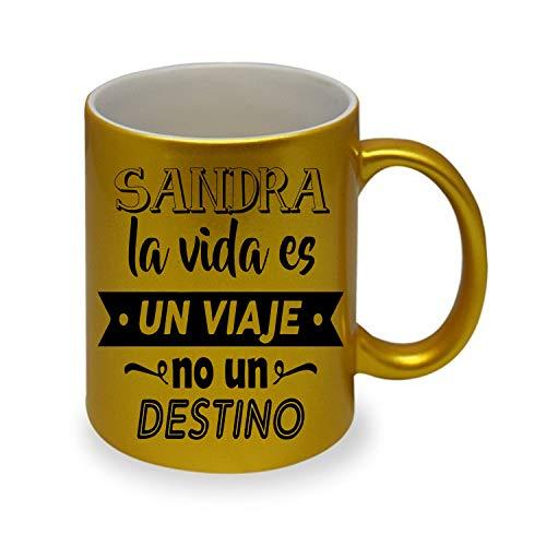 Kembilove Taza Personalizada de Desayuno para Viajeros – Tazas de café con Frases Originales La Vida es un Viaje, no un Destino Color Oro para Regalar a Viajeros – Regalos Originales para Amigos