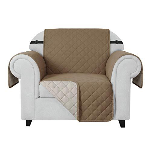 CHUN YI Funda para sofá Funda Reversible de sofá, Protector para sofá con Correas elásticas Ajustables (1 Plaza, Caqui)