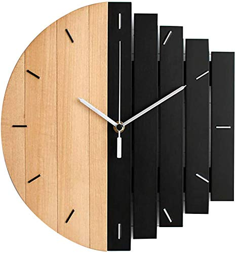 FLOX Horloge murale en bois silencieuse sans tic-tac - Style industriel - Fonctionnement facile à lire - Pour la maison, le bureau, la salle de classe, l'école - 30 cm - B - Taille libre