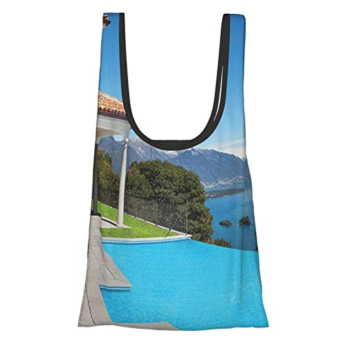 House Decor Collection View From The Terrace Of A House With Pool Mountains Scenic Architecture Reusable Grocery Bags, Eco-Friendly Folding Tote Shopping Bag Fits In Pocket