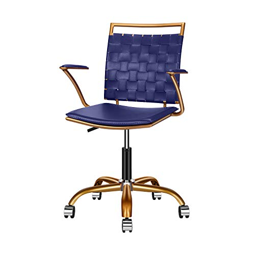 LUXMOD Blue and Gold Office Chair, Mid Back Ergonomic Swivel Computer Desk Chair with Arms, Home Office Blue Chair for Desk, Ergonomic Blue Leather Chair for Extra Back & Lumbar Support - Blue&Gold