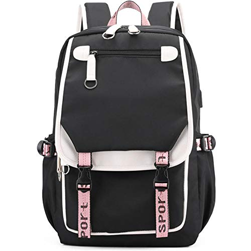 CPFYZH Luminous Usb Rechargeable Backpack Vibrato The Same Student School Bag-Upper Cover Black