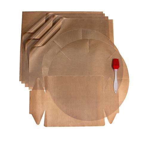 meiba Dauerbackfolie für Backofen (8er Set), Backpapier wiederverwendbar, Backmatte rund, Dauerbackfolie Kastenform + gratis Silikon Backpinsel