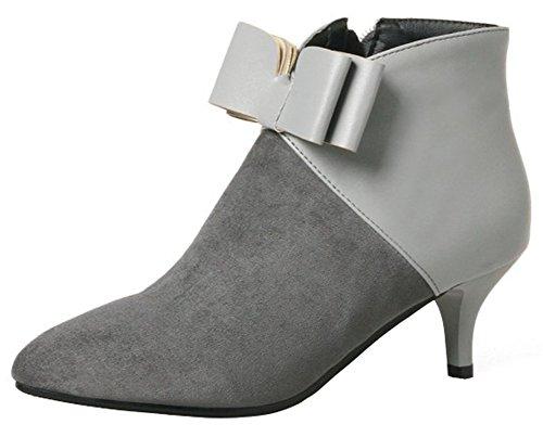 Mofri Women's Dressy Bowknot Side Zipper Short Boots Color Block Splicing Pointed Toe Kitten Heel Ankle Booties (Gray, 9.5 B(M) US)