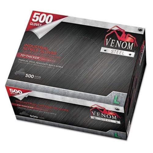 Venom Steel Industrial Nitrile Gloves, Large, Black, 6 Mil, 500 Gloves/Box