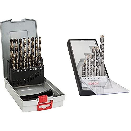 Bosch Professional 19tlg. Metallbohrer-Set HSS-Cobalt ProBox + Rundschaftbohrer 7 tlg. Silver Percussion Bohrer Set