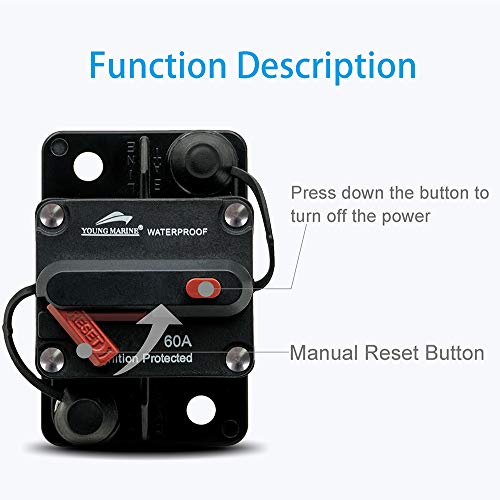 Young Marine Circuit Breaker for Boat Trolling with Manual Reset,Water Proof,12V- 48V DC (Surface Mount-60A)