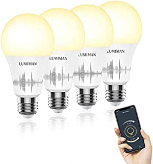 Smart Light Bulbs, LUMIMAN WiFi A19 E26 (7.5W) LED Bulb(2700k-6500k) Work with Alexa, Siri and Google Home, Control from Anywhere No Hub Required (4 Pack)