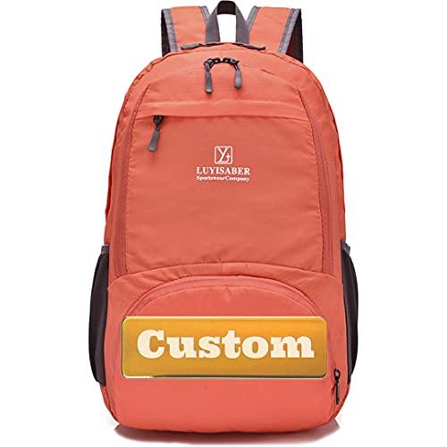 Nome personalizzato Escursione donne zaino impermeabile per campeggio e trekking viaggio nylon durevole, Arancione, Taglia unica,