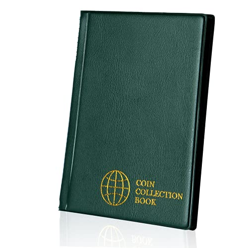 Album per raccolta monete 120 tasche - 3x3cm / 1.2x1.2 pollici Portamonete Libro Porta monete Album Money Penny Pocket per Collezionisti Verde CS0112GR