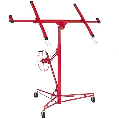 Best Choice Products SKY640 Drywall 11' Lift Panel Hoist Dry Wall Jack Lifter Construction Tools, Large, Red