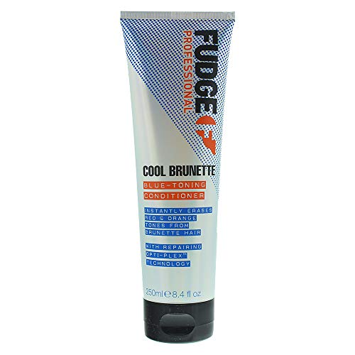 Fudge Après-shampoing professionnel tonifiant bleu, après-shampoing pour brunes, élimine les tons orange/rouge 250 ml