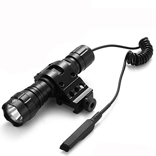 Linterna Táctica Antorcha de Caza LED Xm-l T6 1000 lm 3.7-18V 1 modo Ultra Brillante Tácticas Antorcha de Mano con Interruptor de presión (batería no incluida), Uso para Camping, Senderismo, Pesca