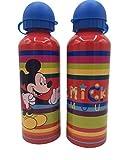 ML Una Botella de Agua de Aluminio de Mickey mause, cantimplora a Prueba de Fugas sin BPA para Levar a la Escuela y Deportes el Termo 500ml para niños y niñas (Rojo)