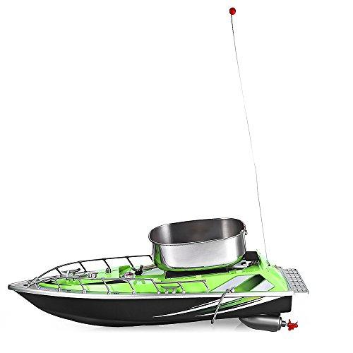 Mini barca telecomandata da pesca, wireless con raggio di 200m, con porta esca, GREEN