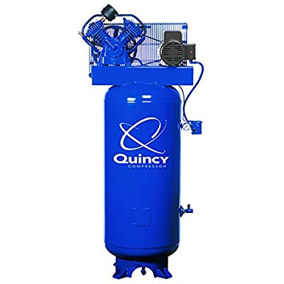 - Quincy QT-54 Splash Lubricated Reciprocating Air Compressor - 5 HP, 230 Volt, 1 Phase, 60-Gallon Vertical, Model# 2V41C60VC