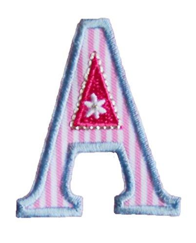 A 9cm ABC rosa blau Aufbügler persönlich Dekoration Geschenk Stoff zum Aufbügeln auf Jacke Schal Halstuch Decke Rucksack Tasche Turnsack Fahne Wimpel Türschild Kissen Hemd Jeans Rock Hosen Kleider Ka