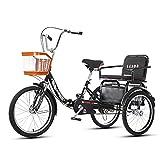 GEETAC Tricycle pliable à trois roues avec panier de courses pour adultes 50,8 cm (beige)