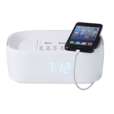 Groov-e Alarm Clock Radio with USB Charger & Bluetooth Speaker - White from Groov-e