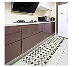 Alfombra de cocina lavable para el hogar y la cocina, antideslizante, alfombrilla de goma en la parte trasera, alfombrilla de baño abosrbente, alfombra de camino, Verde, 45×120cm