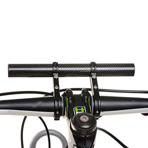 Vovotrade Fibra de Carbono + Aleación de Aluminio Bicicleta Flash Poseedor Manillar Bicicleta Accesorios Extender Montar Soporte (Negro)