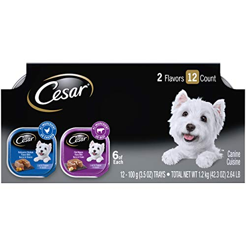CESAR Soft Wet Dog Food Loaf in Sauce Rotisserie Chicken Flavor with Bacon & Cheese and Filet Mignon Flavor with Bacon & Potato Variety Pack, (24) 3.5 oz. Easy Peel Trays