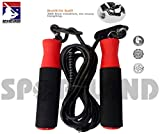 SPORTLAND Fitness Jumping Adjustable Skipping Rope for Gym Training, Exercise and Workout (Red-Black)
