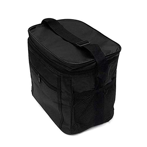 Lunch Bag Picnic Cooler Bag Insulated Cool Tote Bag for Adults Men Women Office School Work Picnic Camping Fishing Barbecue Beach Travel 10L (Black)