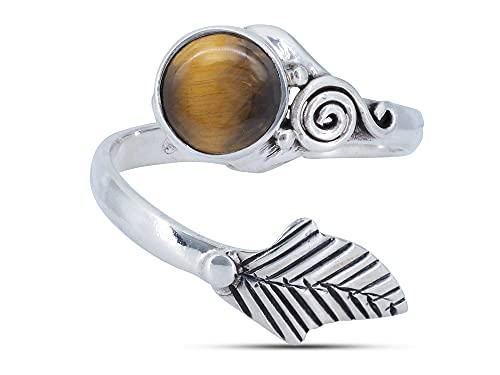 Anillo de plata de ley 925 ojo de tigre verstellbar (No: MRI 149)