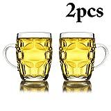 Outgeek Cerveza Jarra, 2PCS 300ML Cerveza Jarra de Cerveza Gruesa Creativa Multiusos Stein Beer Glass