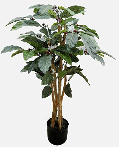Seidenblumen Roß Kaffeebaum 90cm DA künstlicher Baum Pflanze Kunstbaum Dekobaum Kunstpflanzen