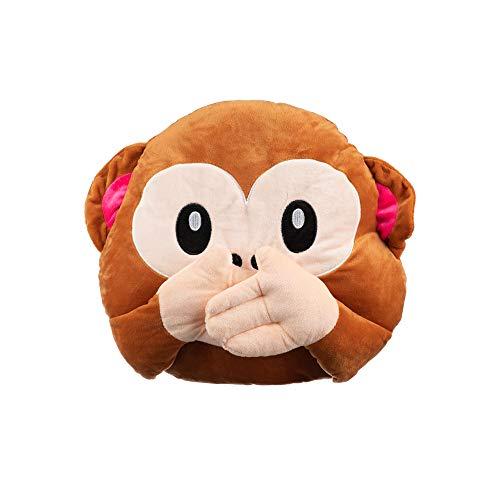 Emoticone - Cuscino Smiley Emoji Scimmia 37 x 32 cm, morbido al tatto, 3 colori assortiti (bocca)