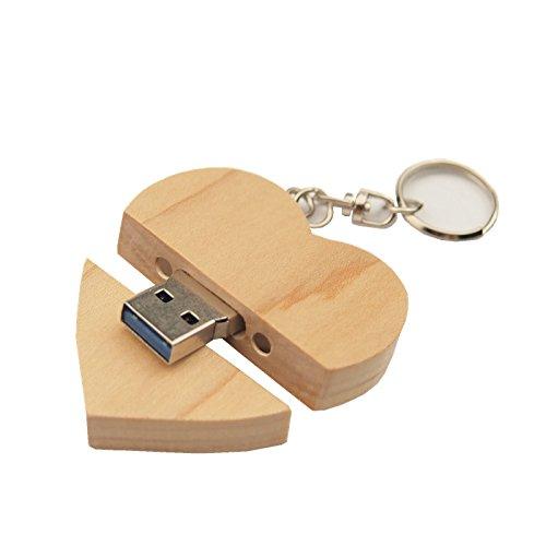 FeliSun Customized Holz Herz USB3.0 Flash Drive Pendrive 64 GB 32 GB 16 GB High Speed U Festplatte Memory Stick Externe Speicher Fotografie Hochzeitsgeschenke