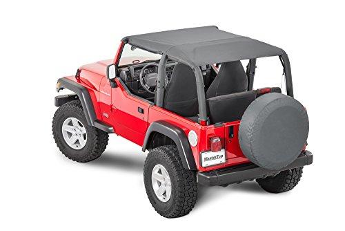 MasterTop Bimini Plus Summer Top in Black Diamond Fits 1997-2006 TJ Jeep Wrangler|Made with True Sail Cloth Fabric and Grab Handle Cutouts|14300235